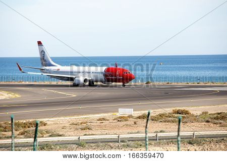 ARECIFE, SPAIN - DESEMBER, 2 2016: A Boeing 737-800 of Norwegian Air Shuttle at Lanzarote Airport