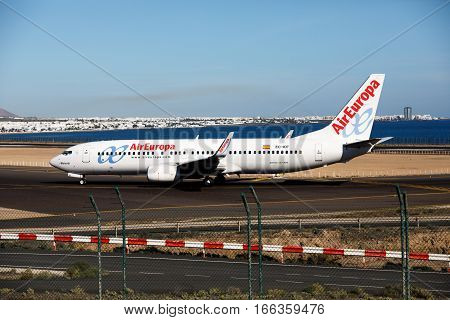 ARECIFE SPAIN - DESEMBER 2. Boeing 737 - 800 of AirEuropa at Lanzarote Airport