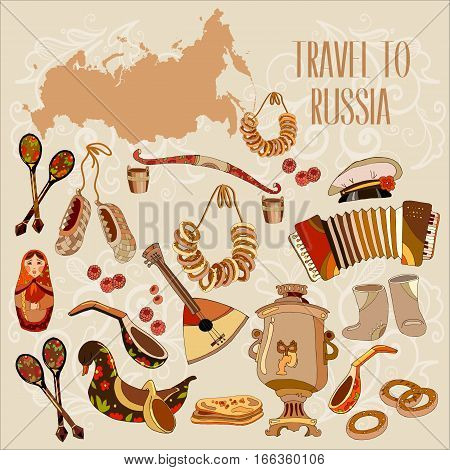 Welcome to Russia. Traditional Russian cuisine and culture. Traveling design. Russia map art concept