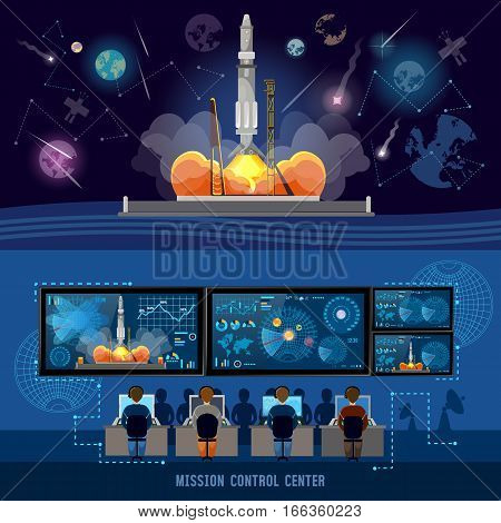Mission Control Center start rocket in space. Modern space technologies return report of start of rocket. Space shuttle taking off on mission spaceport