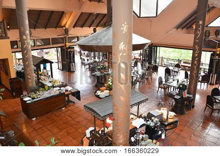 CHIANG RAI THAILAND - JANUARY 8 2017: Restaurant at the Anantara Golden Triangle Elephant Camp and Resort. The Camp is run as a charity for elephants and their handlers.