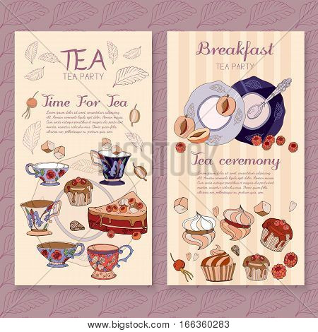 Tea menu design package time for tea and teapot sweet pastries vector cafe menu template