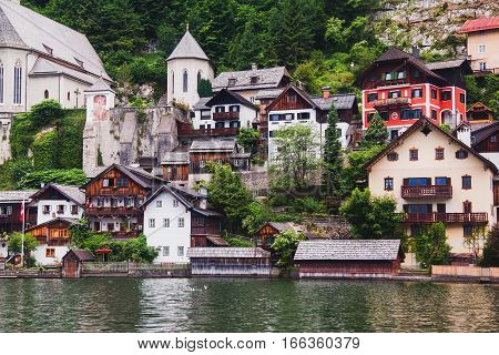 Old houses on a shore of Hallstatt in Austria