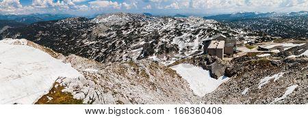 Panoramic View Of Summer Snowy Landscape Of A Mountain Plateau Dachstein Krippenstein,  Austria