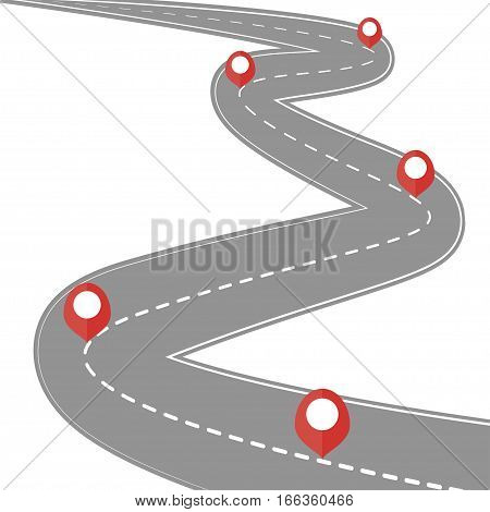 Car road street highway roadmap infographics design Way and direction plan with red markers sign - Vector illustration
