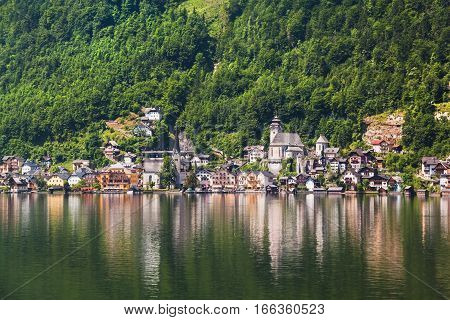 Panoramic View Of Hallstatt From Lake Hallstater See,  Austria