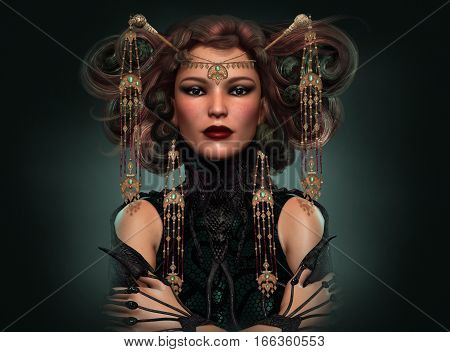 3d computer graphics of a Portrait of a distinguished lady with exotic dress and jewelry