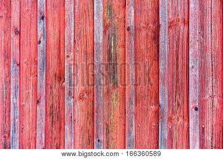 Wood barn wall with red peeling flaking color. Red wooden background texture.