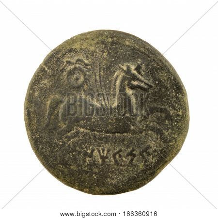 antique roman coin  isolated on a white