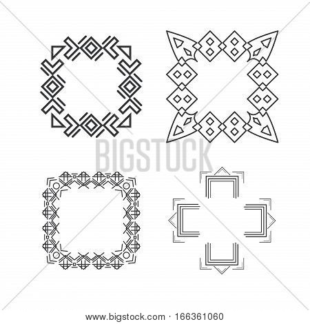 Set of trendy geometric shapes. Set geometric shapes signs, labels and frames triangles line design elements vector and geometric shapes design. Element line sign geometric esoteric.