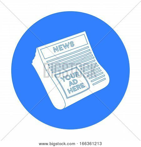 Classified ads in newspaper icon in blue style isolated on white background. Advertising symbol vector illustration.
