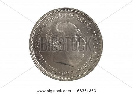 Spanish currency Francisco Franco cincuenta pesetas isolated on a white background