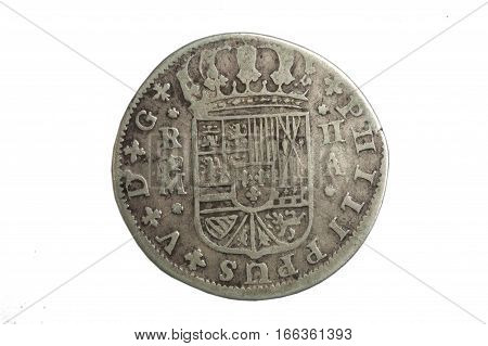 a Spanish medieval coin king Felipe V isolated on a white background