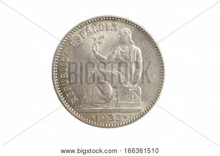Spanish currency one peseta Republica Española 1933 isolated on a white background