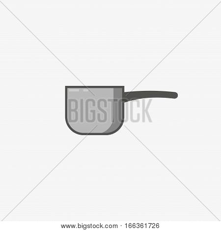 Traditional small saucepan with handle on grey background. For manual cooking only. Kitchen utensils. Stock vector