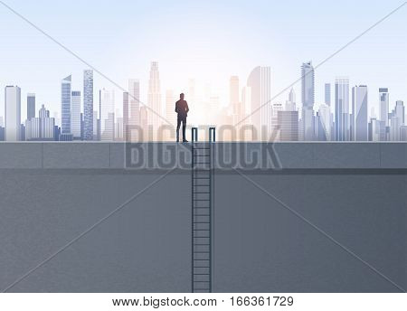 Business Man Silhouette On Office Building Roof Over Modern City Landscape Vector Illustration