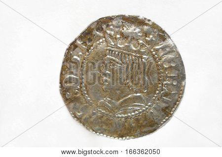 Spain coin Fernando IV un croat isolated on a white background