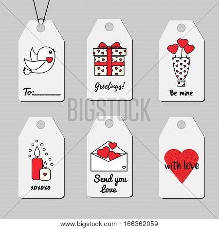 St Valentine's day gift tags. Shopping and sale printable tags vector collection. Romantic love theme. Hearts candles gift box and other symbols