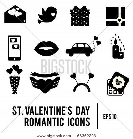 St Valentine's day icons. Set of romantic love holidays symbols. Printable black silhouettes. Hearts envelope candles and other traditional design elements stickers for weddings invitations and etc