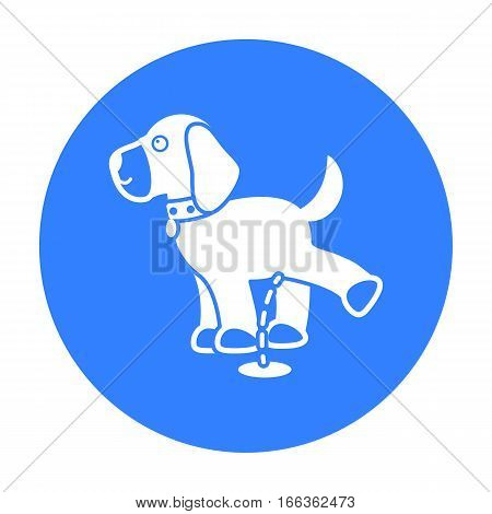 Pissing dog vector illustration icon in blue design