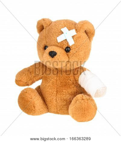 Teddy Bear With Bandage Isolated On White, Without Shadow.