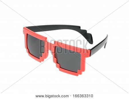 Pixel Glasses Isolated On White. Without Shadow