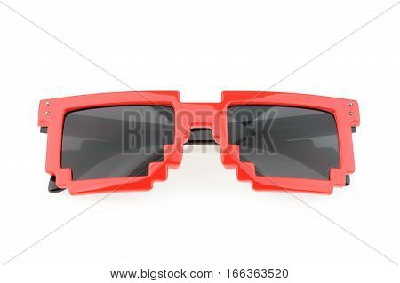 Pixel glasses isolated on white background. close up