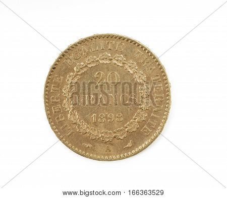 Gol coin Republique Française twenty francs isolated on white