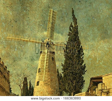 Montefiore windmill, Jerusalem. It is a famous museum and public domain in Israel. Aged textured and toned image for inspiration of retro style