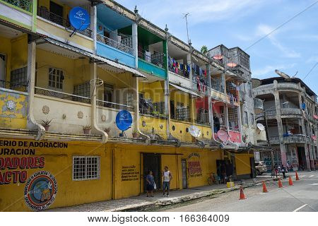 June 9, 2016 Colon, Panama: the economic decline of the port town is visible on the architecture