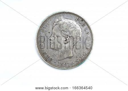 5 pesetas un duro Alfonso XIII silver