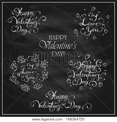Letterings Happy Valentines Day written in white chalk on a black chalkboard, holiday greetings, illustration.