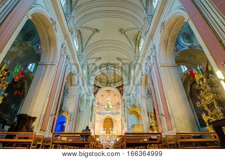 Church Interior. San Francesco All Immacolata, Catania, Sicily, Italy