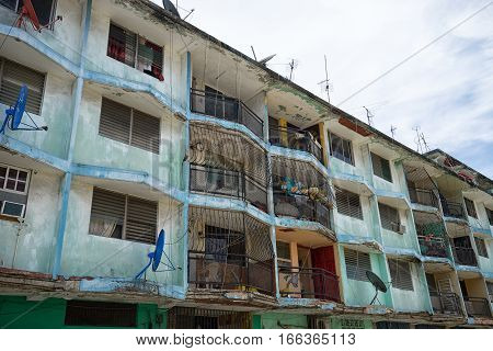 June 9, 2016 Colon, Panama: deteriorating building facade in the tropical port town