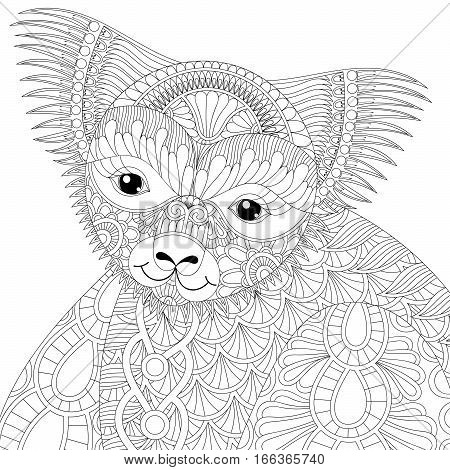 Vector zentangle happy friendly koala for adult anti stress coloring pages, book, Australian marsupial bear for art therapy, mascot, tribal tattoo art, greeting card. Hand drawn patterned illustration.