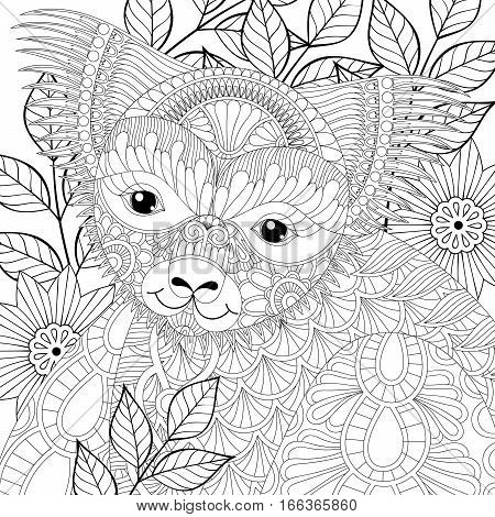 Vector zentangle happy friendly koala for adult anti stress coloring pages, book, Australian marsupial bear among eucalyptus for mascot, tribal tattoo art, greeting card. Hand drawn patterned illustration.