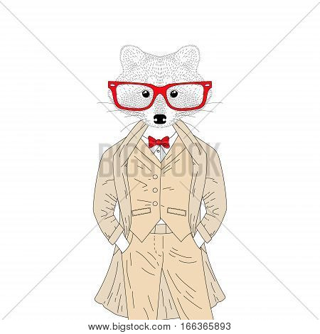 Vector cute raccoon boy in elegant suit with coat, glasses. Hand drawn anthropomorphic animal cartoon, cheerful fashion hipster, illustration for t-shirt print, greeting card, invitation for party.