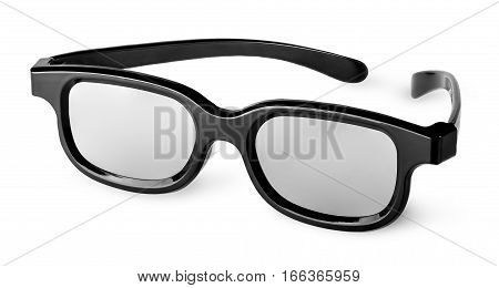 Plastic 3D glasses isolated on white background