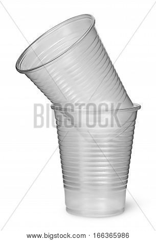 Two plastic cups each other isolated on white background
