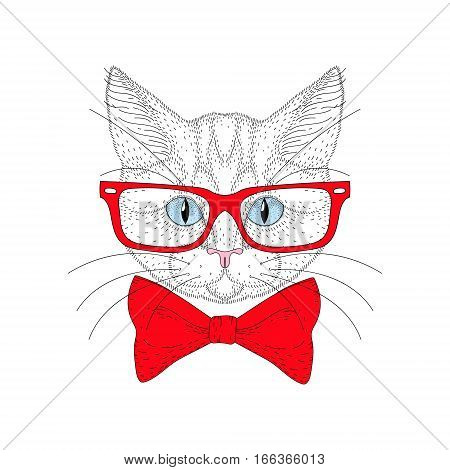Vector cute cat portrait with hipster glasses. Hand drawn kitty head with red bow tie, cheerful fashion animal cartoon illustration for t-shirt print, kids greeting card, invitation for pet party.
