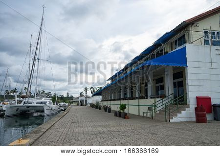 June 9 2016 Shelter Bay Panama: the marina office and hotel building