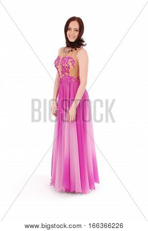 Young girl in evening dress isolated on white