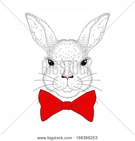 Vector cute bunny portrait. Hand drawn rabbit head with red bow tie, fashion Animal illustration for t-shirt print, kids greeting card, invitation for party, Happy Easter.