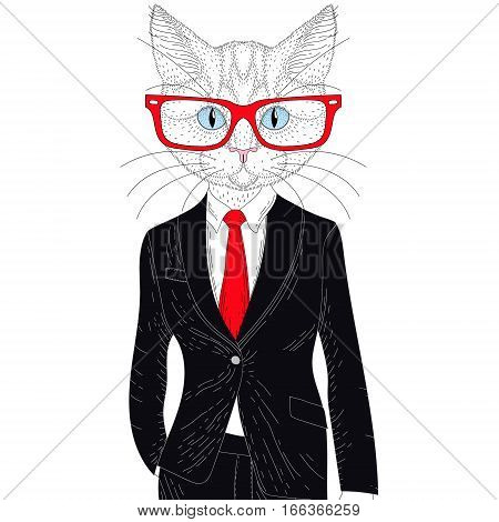 Vector cute cat boy in elegant suit with glasses. Hand drawn anthropomorphic animal cartoon, cheerful fashion hipster, illustration for t-shirt print, kids greeting card, invitation for pet party.