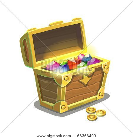 Treasure chest full of jewels and golden coins isolated , cartoon illustration