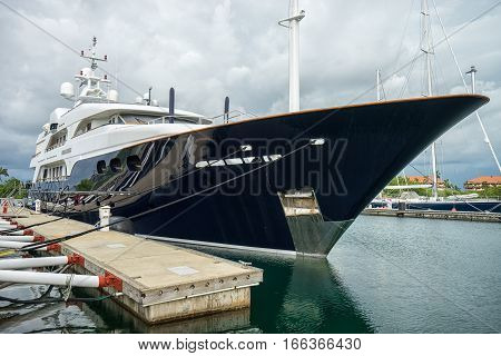 June 9 2016 Shelter Bay Panama: luxury superyacth docked in the private marina by the Panama Channel