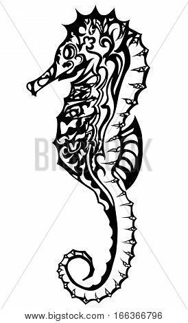 Black and white seahorse based in doodling style