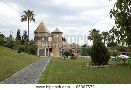 Side Turkey - June 2 2015: Unusual buildings and walkways at the Horus Paradise Luxury Resort in Turkey.