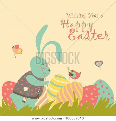 Easter bunny and easter egg. Vector illustration