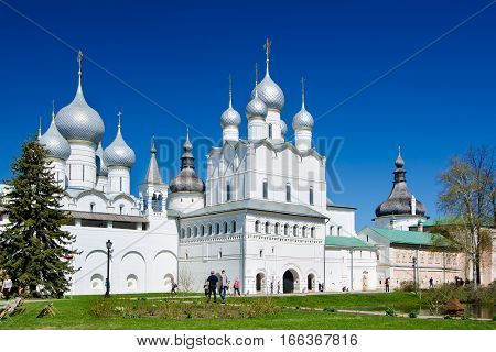 ROSTOV RUSSIA - MAY 3 2016: Assumption Cathedral and church of the Resurrection in Rostov Kremlin Russia. Golden Ring of Russia.